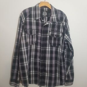 Triple Fat Goose XL purple black plaid shirt